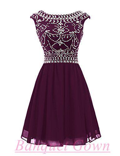 Short Prom Dress,Chiffon Homecoming Dress,Rhinestone Homecoming Dress,Cap Sleeve Prom Dress,Cute Homecoming Dress,Grape Cocktail Dress