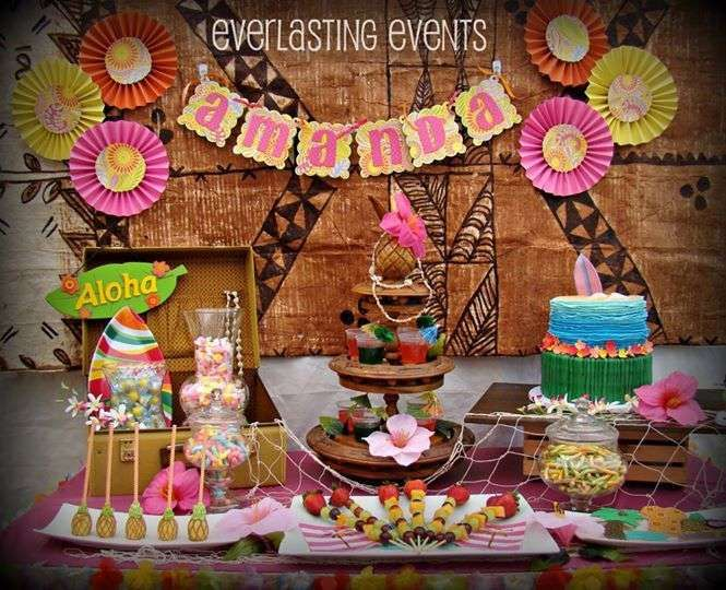 Luau birthday party dessert table! See more party ideas at CatchMyParty.com!