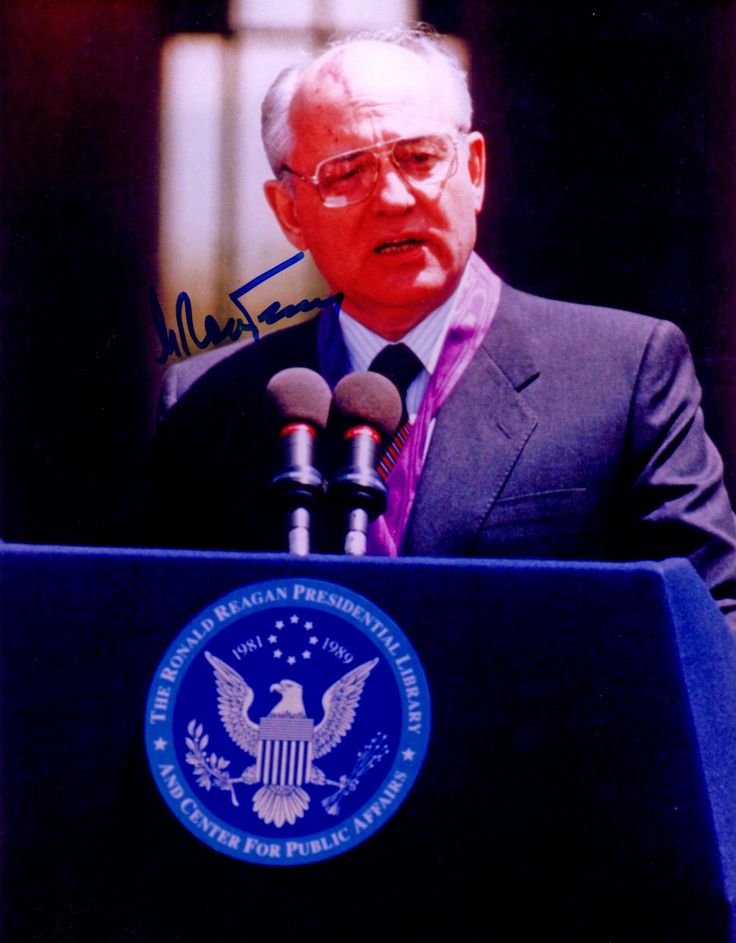 GORBACHEV MIKHAIL: (1931-    ) President of the Soviet Union 1990-91, Nobel Peace Prize winner 1990. Signed colour 8 x 10 photograph of Gorbachev delivering a speech from a lectern bearing the circular emblem of The Ronald Reagan Presidential Library and Centre for Public Affairs. Signed with his name alone in bold blue ink to a clear area of the image.