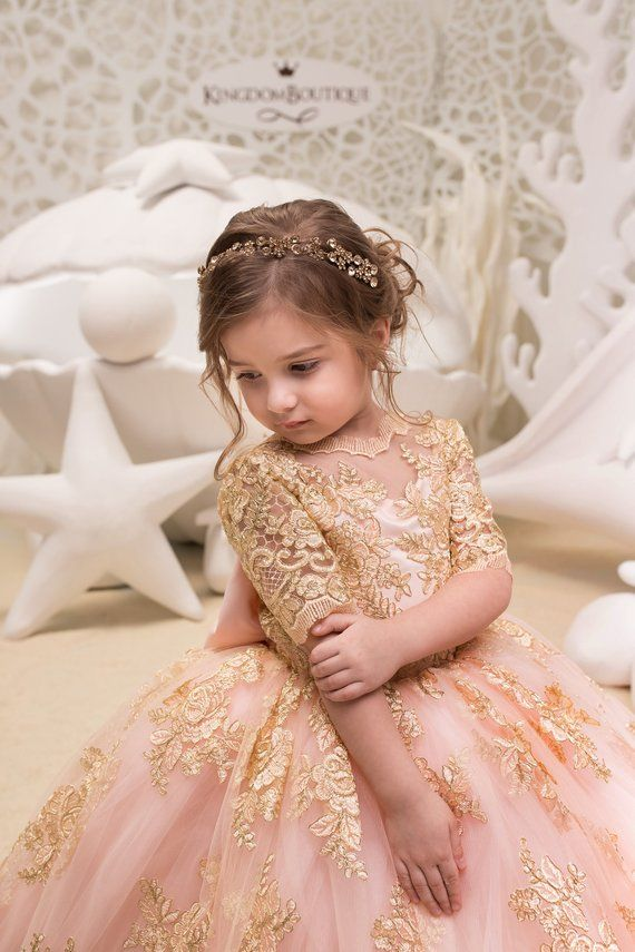d607be5f7342 Blush Pink and Gold Flower Girl Dress Birthday Wedding Party | Etsy