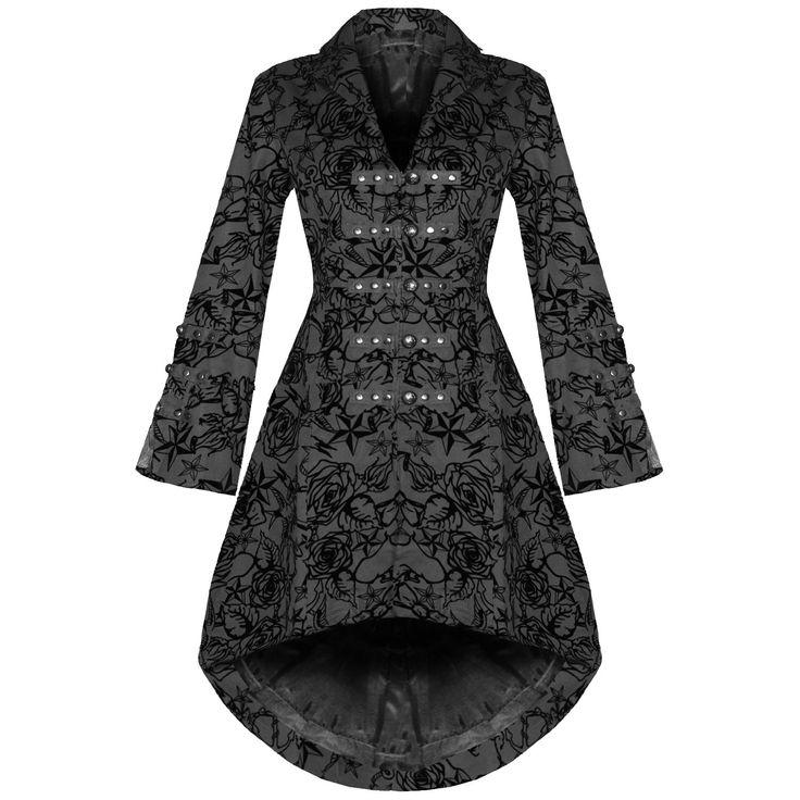 Womens New Black Gothic Steampunk Military Rockabilly Flocked Tattoo Coat   Abbigliamento e accessori, Donna: abbigliamento, Cappotti e giacche   eBay!