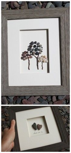 "Great idea to have kids collect a couple of rocks from each destination on a vacation, then create a ""forest of memories"" and frame it!"