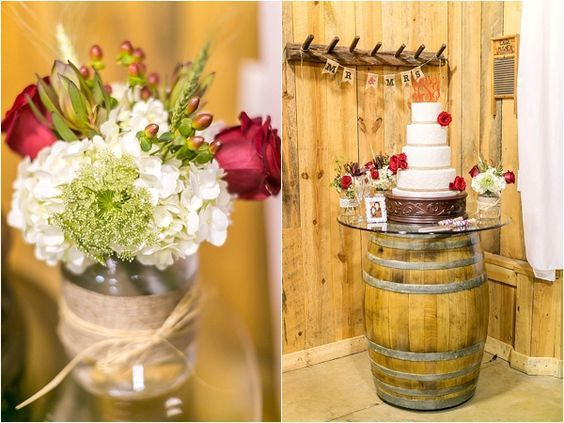 Floral centerpieces in burlap-wrapped mason jars | Red rose decorated wedding cake | Photo by Amy Allen Photography | Rustic Red and White Fall Wedding on heartlovealways.com