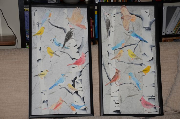 Class auction project for primary age kids (3-5 year olds) in a Montessori environment.  Used a Cricut machine to cut out local Virginia birds shapes.  The kids water color painted the birds trying to copy the guide book photos for color.  The birds were mounted in a large shadow box frame at different depths to give a 3D appearance.