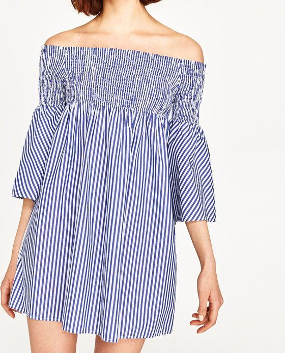 Blue & White striped dress from Zara fits tts. I bought an xs.