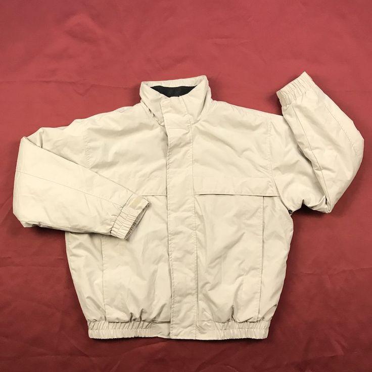 Saddlebred Mens Sz L Lined Jacket Beige Zip Up Long Sleeve Winter Coat Padded  #Saddlebred #Jacket