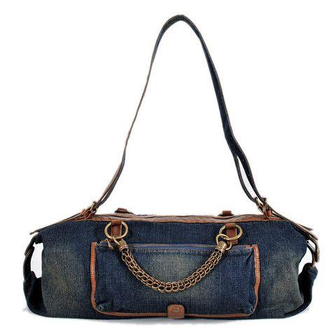 MIDOU Large Capacity Metal Handle Travel Denim Bag