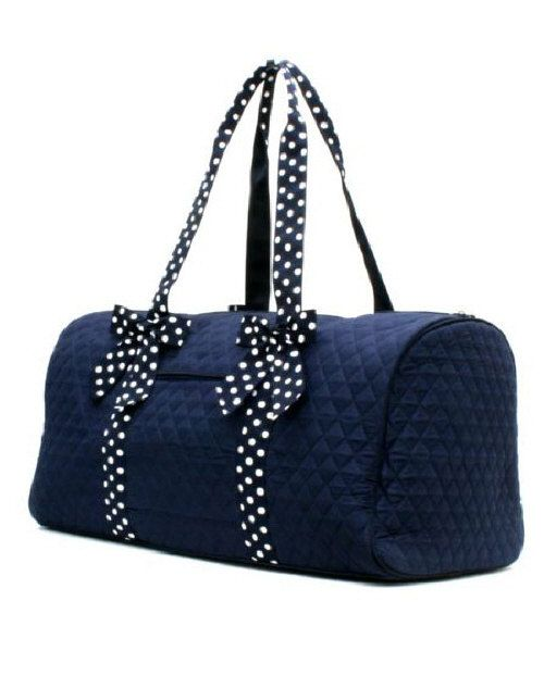 Personalized quilted navy duffle bag monogrammed
