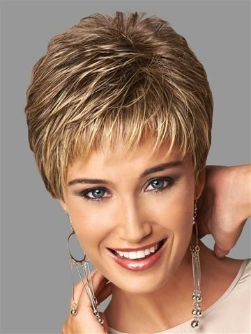 Offering a light, cool fit with no-fuss styling, this short, slightly textured boy cut includes a barely curled top and crown, wispy, feathered bangs and expertly layered sides and back that blend into a neck hugging nape.