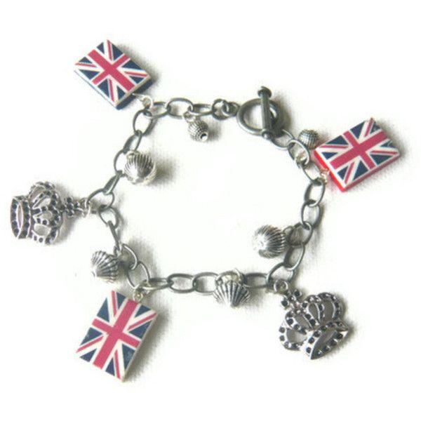 Union Jack Charm Bracelet - United Kingdom Great Britain - London... ($23) ❤ liked on Polyvore