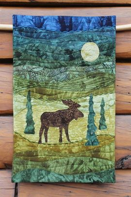 """""""Moonlight Moose"""" - art quilt by On The Trail Creations (Beret Nelson)"""
