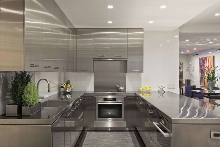 luxury-interior-silver-stainless-steel-u-shape-modern-kitchen-cabinet-combine-kitchen-island-and-square-sink-plus-u-shape-faucet-added-modern-stove