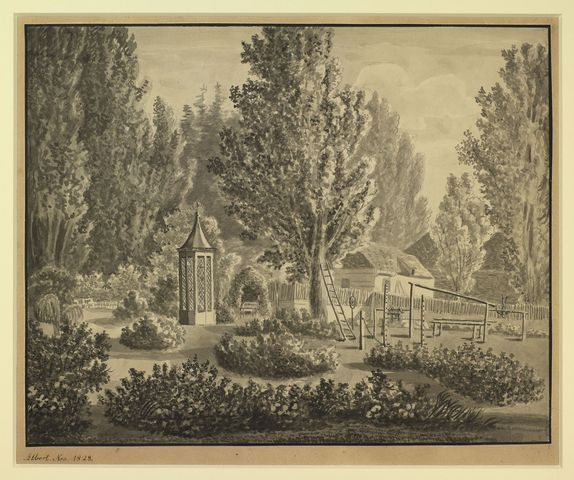 The garden of the Rosenau  dated Nov 1828 by Prince Albert, Prince Consort, consort of Victoria, Queen of the United Kingdom (1819-61)