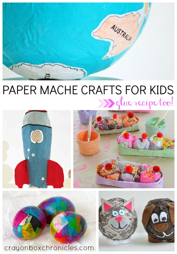 Paper mache crafts for kids with kid-safe, no cook glue recipe.