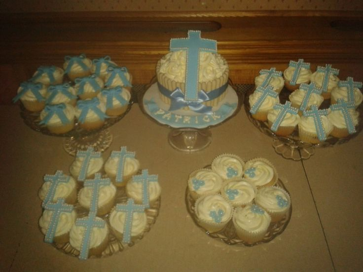 Boys Blue Christening Confirmation Holy Communion Cupcakes Cross Religious Pearl Bow Ribbon Giant Cupcake