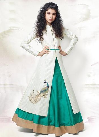 White & Rama Green Kids Gown Type Lehengacholi