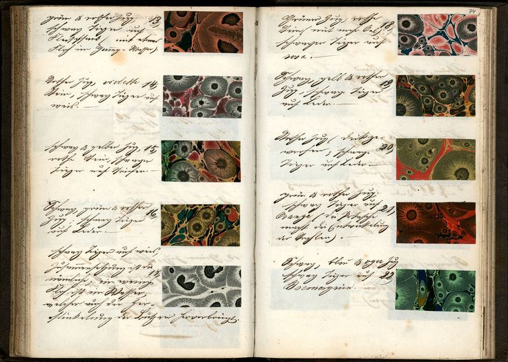 Recipe book for decorated paper. Germany, late 19th century. From the National Library of the Netherlands.