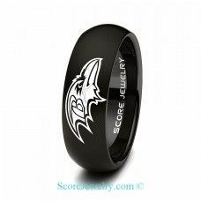 Black Tungsten Band with Domed Edge NFL Football Baltimore Ravens Logo Ring