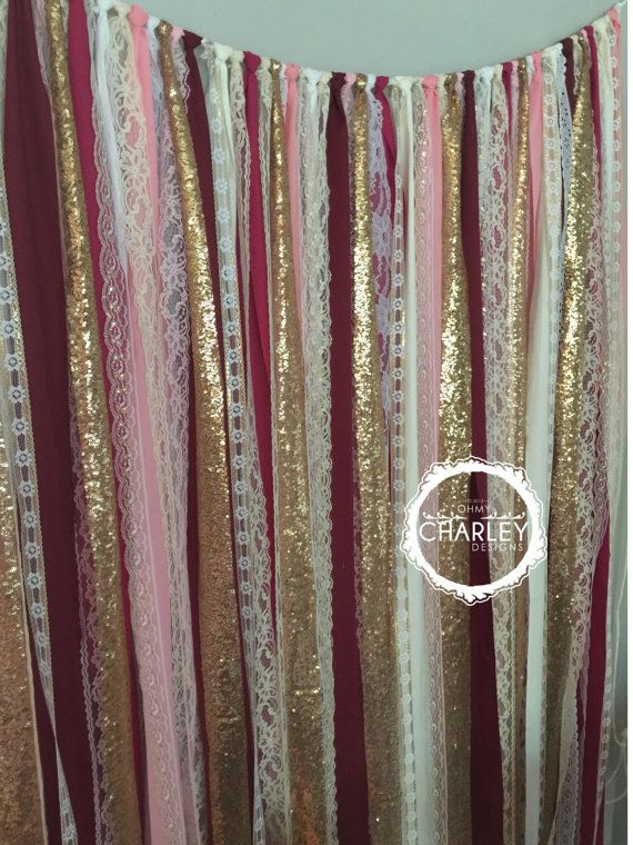 Burgundy, Blush Pink, Marsala & Gold sparkle sequin mixed various fabrics and lace. Torn and rag tied - edges are meant to fray.  Perfect for accenting cake smash photo prop, cake table, nursery, doorways, ceremony stage, drape between trees or use as your photo booth background. Other garland uses: Special Events - bridal shower, baby shower, birthday parties, graduations, retirement parties, engagement photos. CUSTOMIZE!!!!! - Can be made any color blend, width or length - convo for…