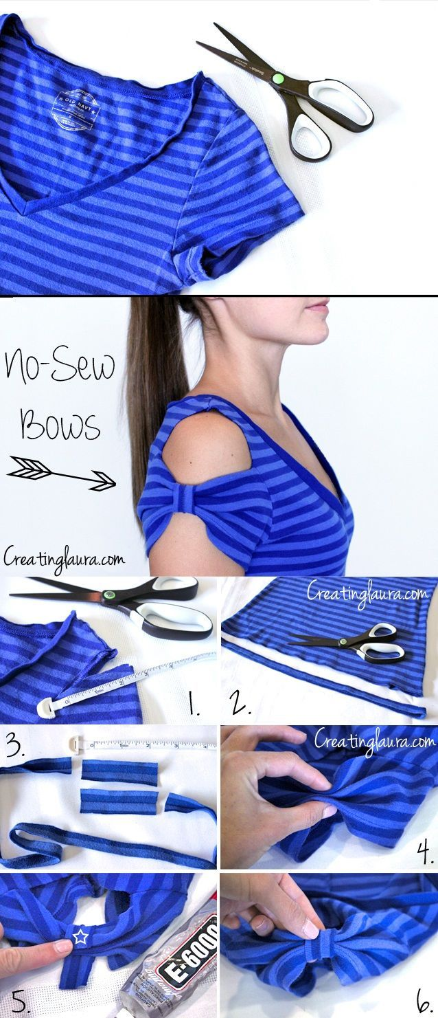 Create bow sleeves on a t-shirt without sewing. So easy! http://alldaychic.com/how-to-make-t-shirt-bow-sleeves-without-sewing-diy/
