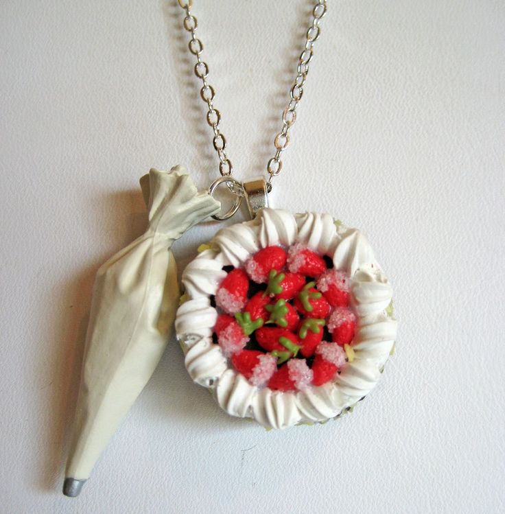 Frosting the Cake Charm Necklace - Food Jewelry - Polymer Clay