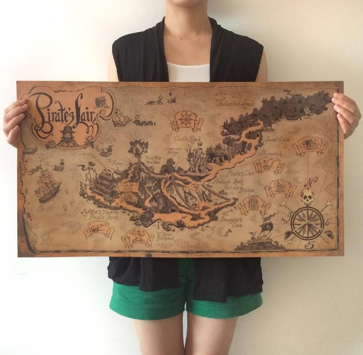 Vintage ancient Pirate Sailing World Map Poster Wall Sticker Living Room Paint Bar Cafe Decor Ancient World retro maps 71x38cm(China (Mainland))