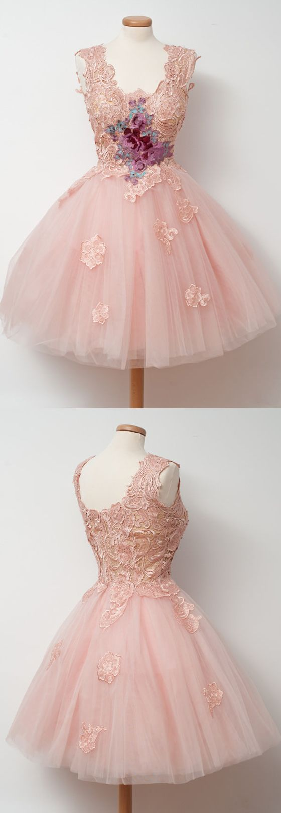 Cute Pink Unique Lace Junior Beautiful Cheap Short Homecoming Dresses, WG808