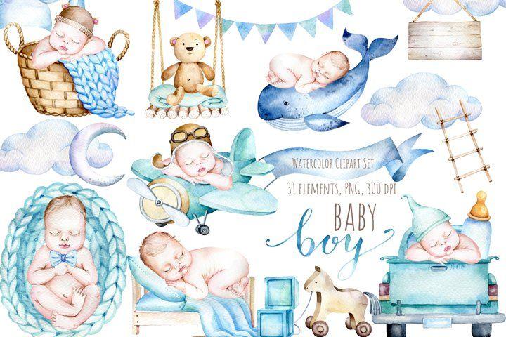 Watercolor Newborn Baby Boy Clipart It S A Boy Clipart Set 809560 Illustrations Design Bundles In 2021 Baby Album Design Clip Art Baby Unicorn
