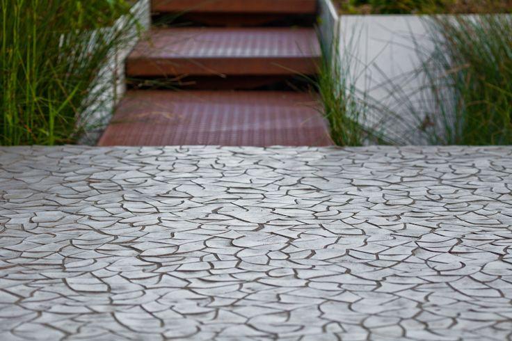 'Cracked Earth' concrete tile design by Hugo Bugg I KAZA Concrete #gardendesign #landscapedesign #floortiles