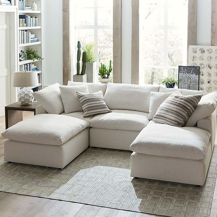 The double chaises on this Envelop sectional means twice the comfort. The removable back cushions make for easy clean up.