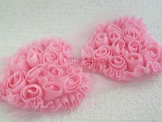 PINK Chiffon Hearts Pink Chiffon Heart Trim by LittleMissySupplies