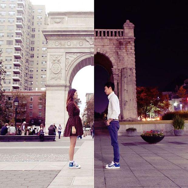 O casal coreano Danbi Shin e Seok Li construiu uma ponte através da fotografia para falar sobre a distância do namoro através de seu projeto Half & Half.