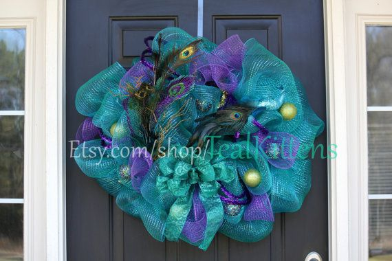 Peacock Vibrant Teal and Purple Deco Mesh Wreath