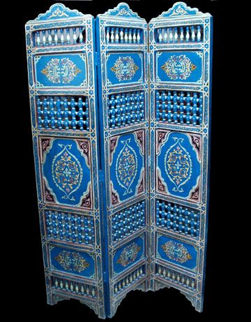 Hand painted moroccan folding screen for the home for Moroccan hand painted furniture