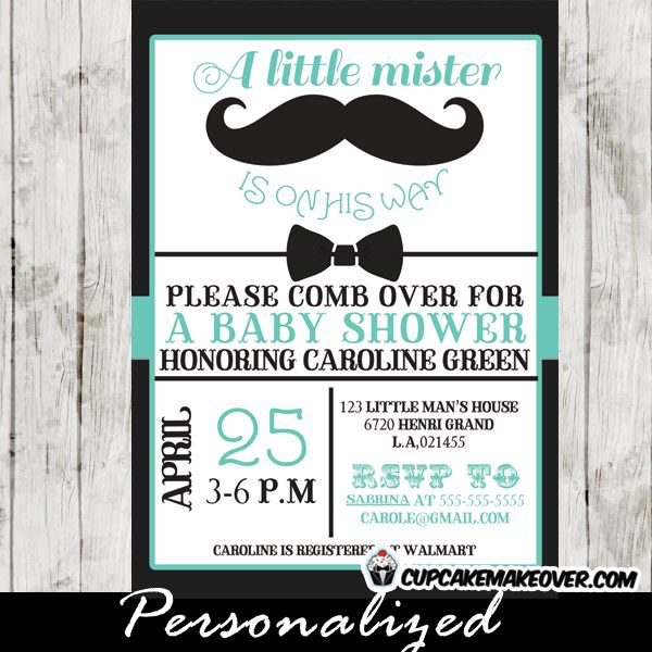 A chic black bow tie baby shower mustache invitation to celebrate your little mister. This personalized little man moustache baby shower invitation features a black mustache and bow tie set against a white backdrop with blue caligraphy. #cupcakemakeover