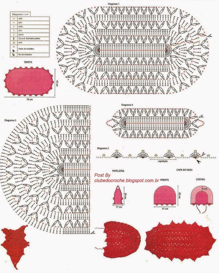 """Clube do Crochê: Jogo de banheiro """"Delicado Vermelho"""" (com gráfico)"""