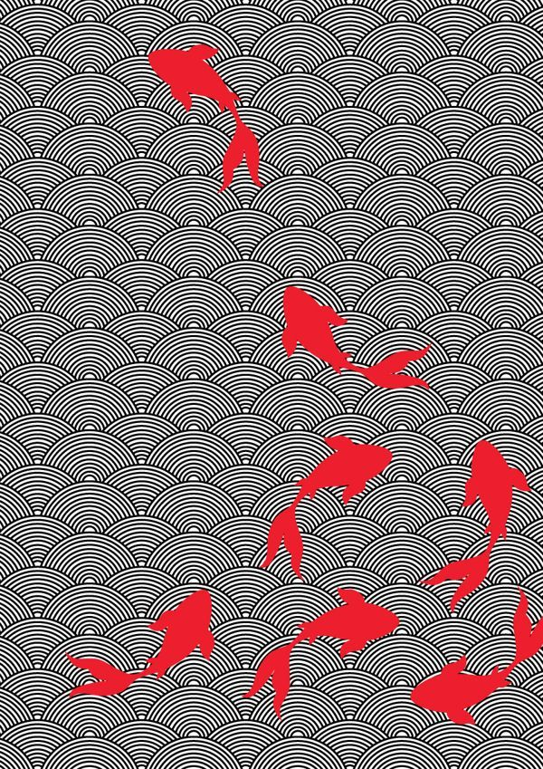 Motif : inspiration japonaise, bassin et poisson rouge. #red