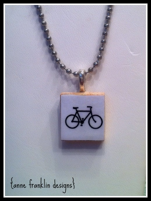 109 best scrabble tile jewelry images on pinterest scrabble tile bicycle repurposed scrabble tile pendant necklace mozeypictures Gallery