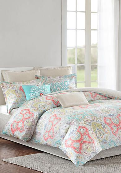Add bursts of color to the bedroom with this Echo Design™ Cyprus Bedding Collection. The pattern features an array of colors including aqua, green, coral, and gray. The updated paisley pattern creates a modern look to transform your bedroom. Made from pure cotton sateen, the comforter is soft to the touch and machine washable for easy care.