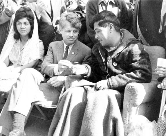 On March 10th, 1968, Cesar Chavez breaks his 25-day fast by accepting bread from Senator Robert Kennedy, Delano, California.