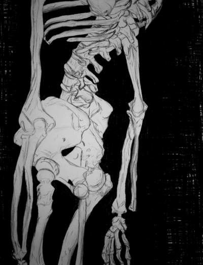 Negative Space Skeleton Drawing | Teen Charcoal About abstract, objects, skeleton and contour