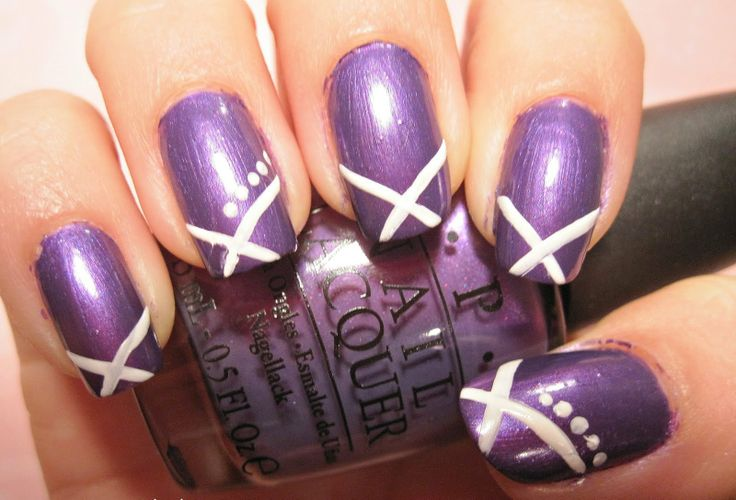 Purple Nail Beds #prom nail art