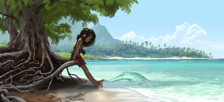 An early piece of visdev for Disney's upcoming Moana feature animation that was released at D23.