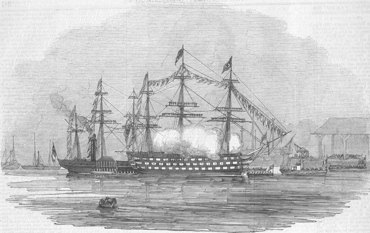 PORTSMOUTH. Ibrahim Pacha landing, -Victory saluting, antique print, 1846
