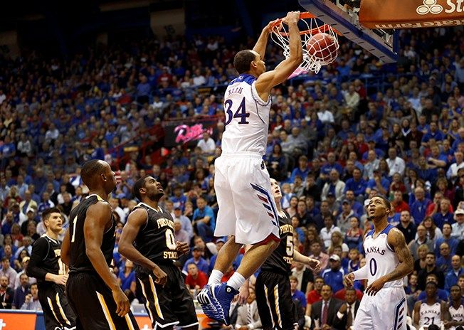 Perry Ellis dunks against Fort Hays State. KU win 92-74, 11/5/2013