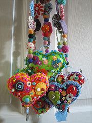 These colorful and fanciful hearts and beads would be fun to make! #crafting
