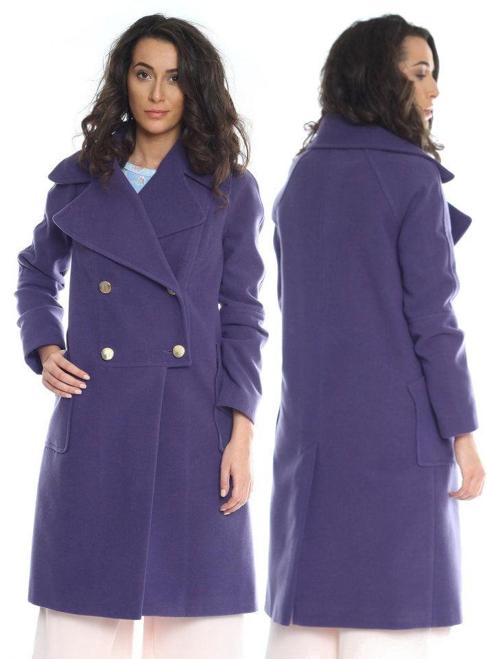 Palton dame mov din lana AM-20706