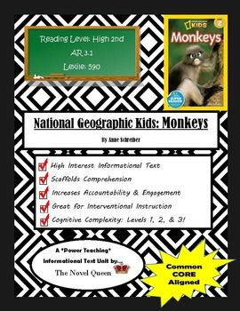 National Geographic Kids Monkeys Informational Text Unit | by Novel Queen