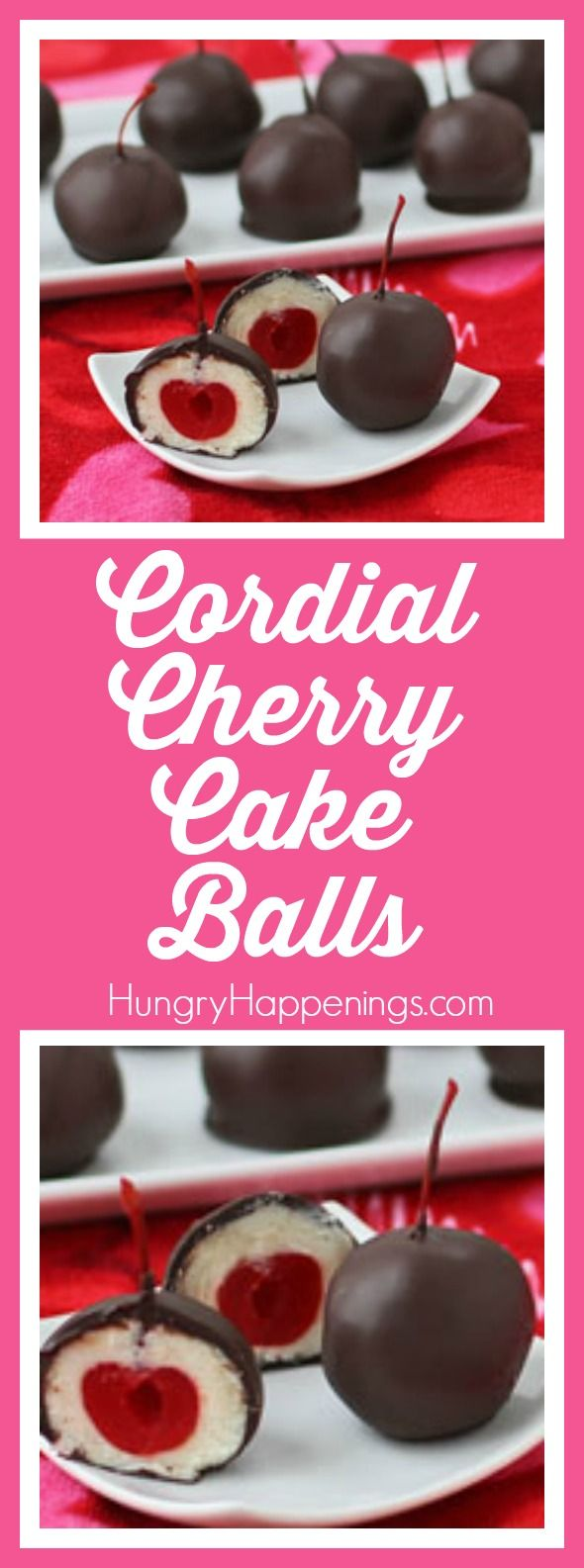 One of my favorite desserts ever are cherry cordials so I decided to make them even better and made these Cordial Cherry Cake Balls. The cherry flavor bursts as the cake melts and your mouth will overload with all this deliciousness!