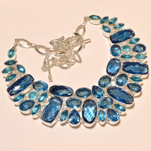 Tpz 217a collier parure sautoir topaze bleue iolite apatite bijou argent 925 vente achat